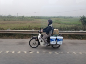 Motor bikes everywhere: I person, 2 person, Mum & Dad and Baby, Boxes, Bruskes, Vegetables - unbelievable